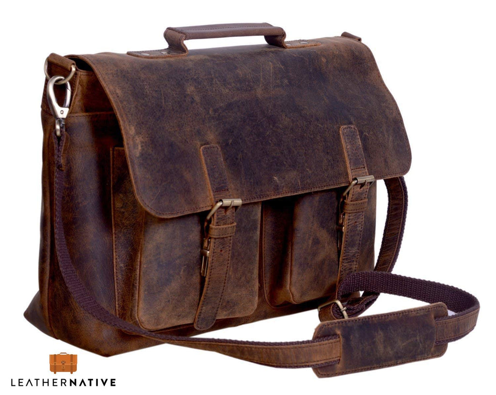 "15"" Retro Buffalo Hunter Leather Bag"
