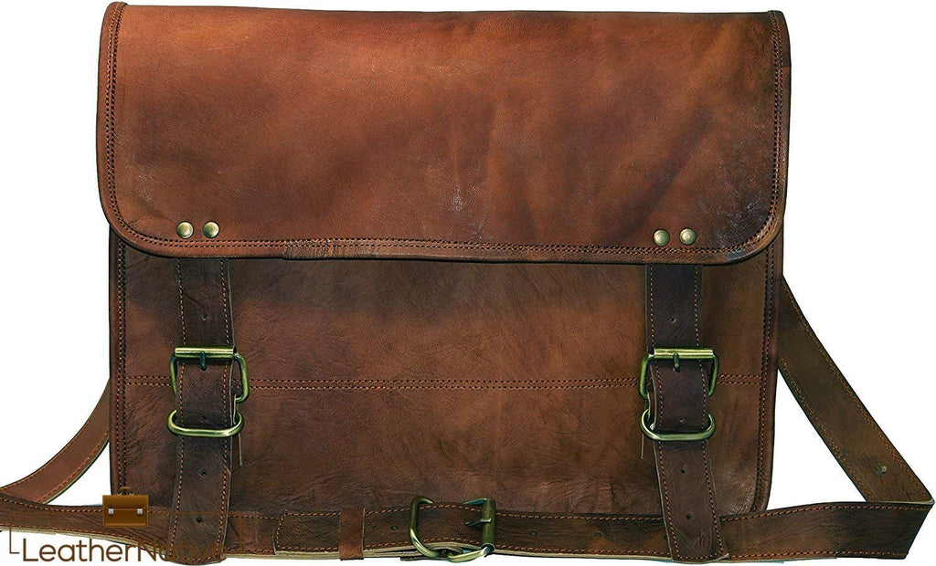 "13"" Goat Leather Satchel Bag"