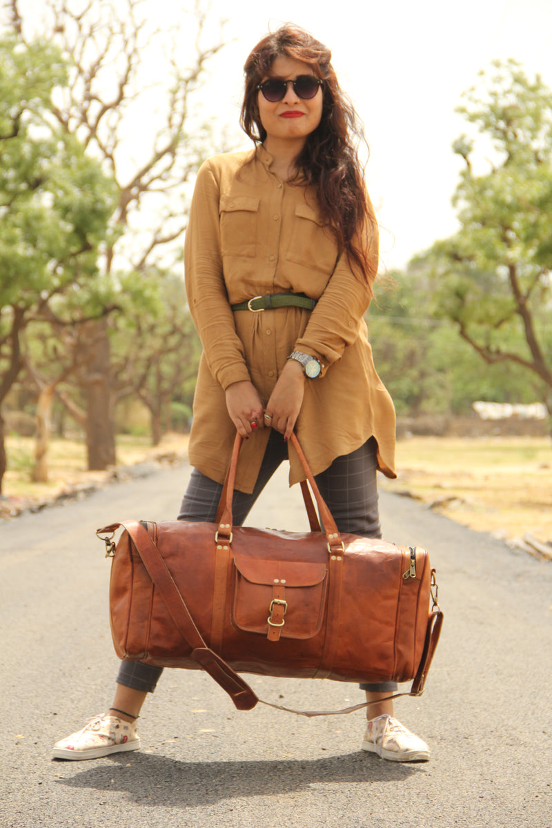 Handmade Leather Overnight Duffle Bag