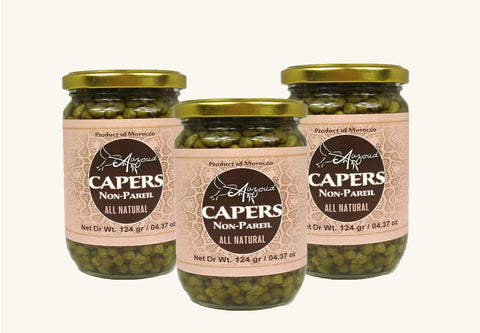 Auzoud All-Natural Non-Pareil Capers, 4.37 oz (PACK OF 3)