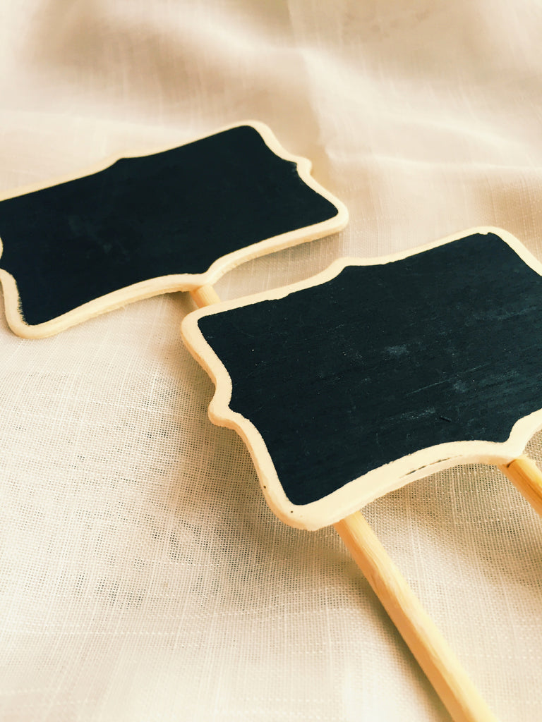 Mini Wooden Chalkboard Signs on Stands, 6 pieces