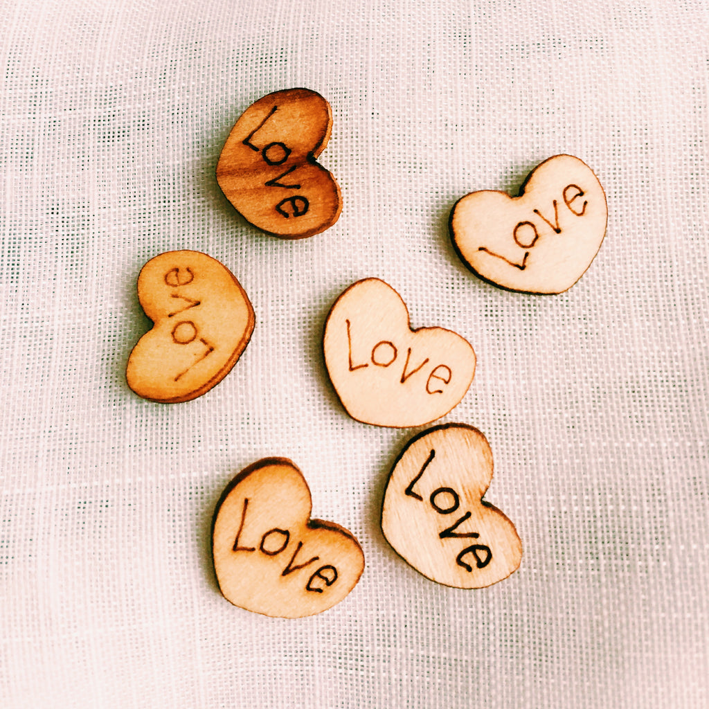 Mini Wood Love Heart Scatters or Craft Bits x 100