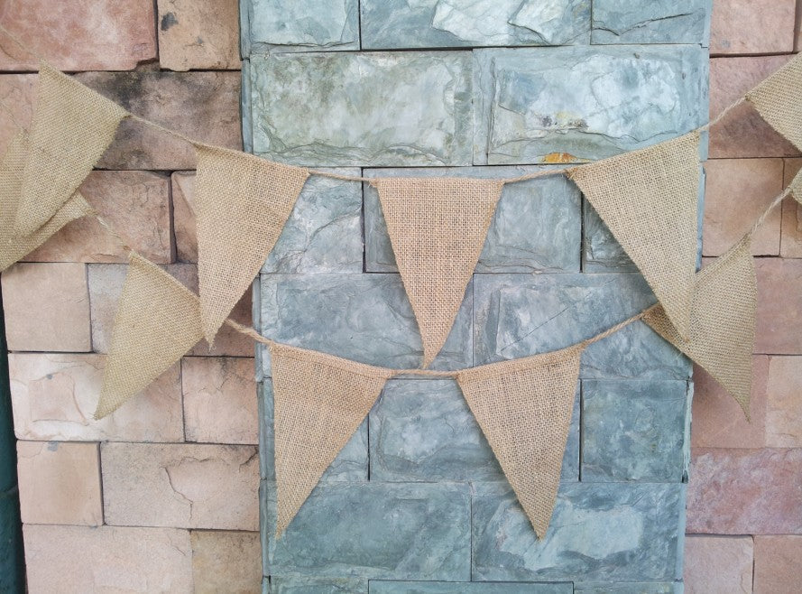 Burlap and Jute Bunting Banner Flags