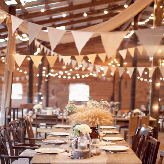 Burlap and Jute Bunting Banner Flags Reception Setup