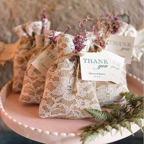 Burlap Pouch with Lace Overlay Favour Bags, 50 pcs