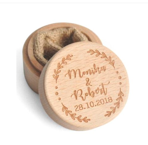 Personalised Wooden Ring Box with Wreath in Natural or White
