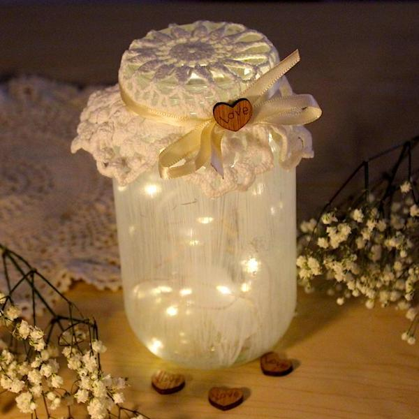Copper Fairy Lights in Dressed up Mason Jar