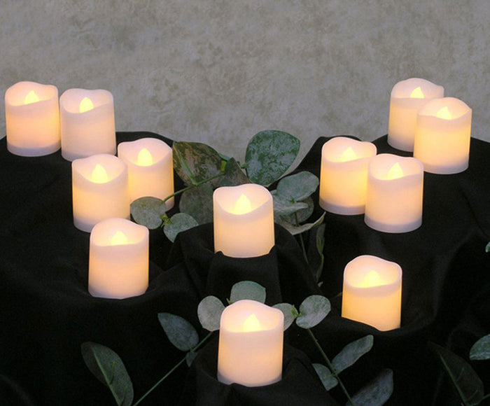 Electronic Flameless Tea Light Candles with batteries, 12 Pieces