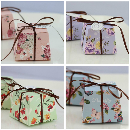 Floral Favour Boxes Bombonniere, 40 pieces -with or without ribbon