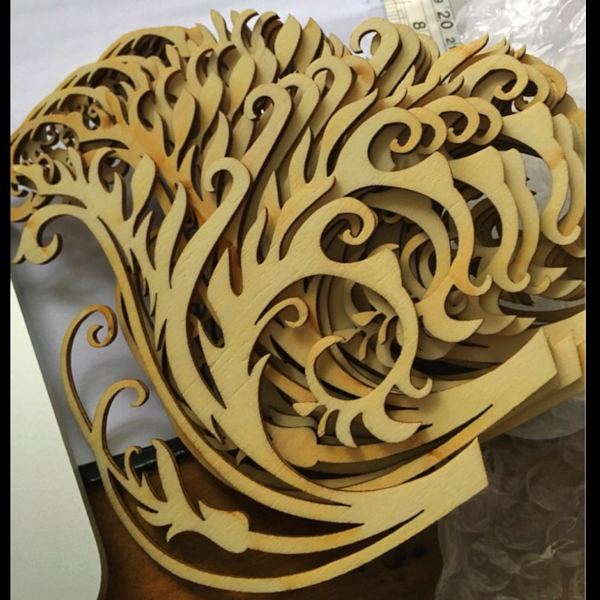 Wooden Flourish Embellishment, 12 pieces