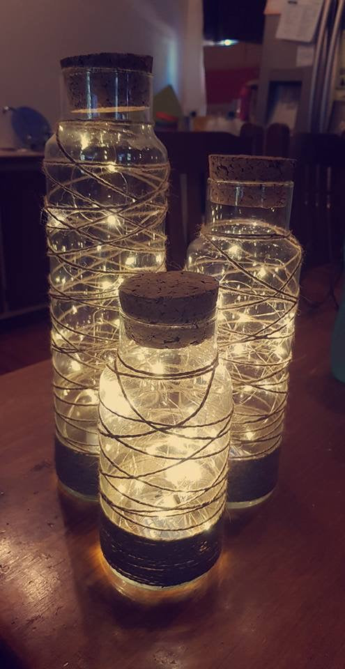 Copper Fairy Lights in Tall Glass Jars