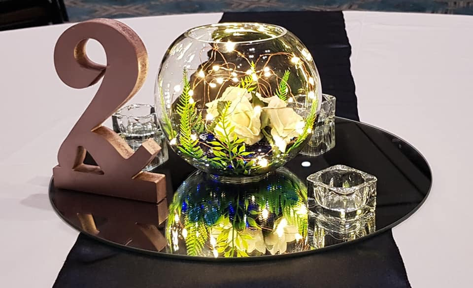 Copper Fairy Lights in Fish Bowl Table Centerpiece