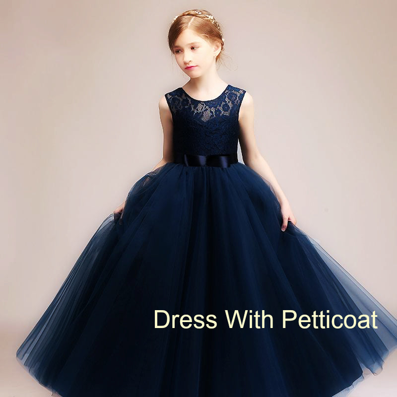 Sleeveless Lace and Tulle Flower Girl Dress, 8 colours