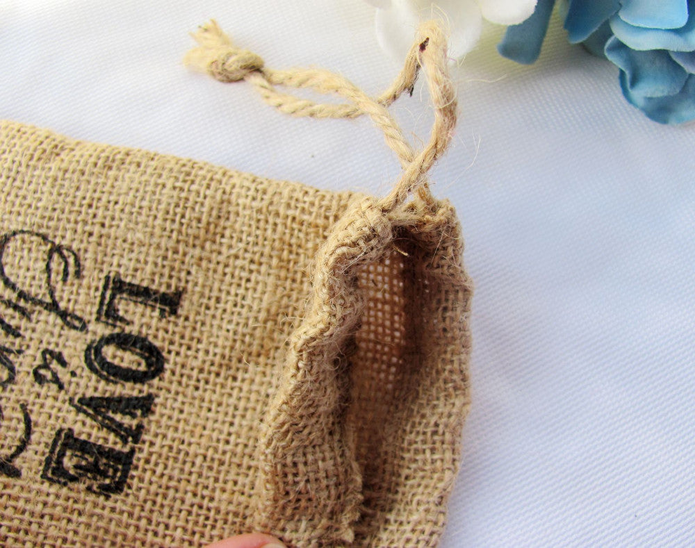 'Love Is Sweet' Burlap Wedding Favour Drawstring Bags Details