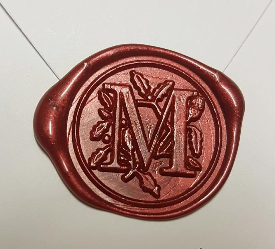 Vintage Wax Seal Stamp with Letter Initial Monogram