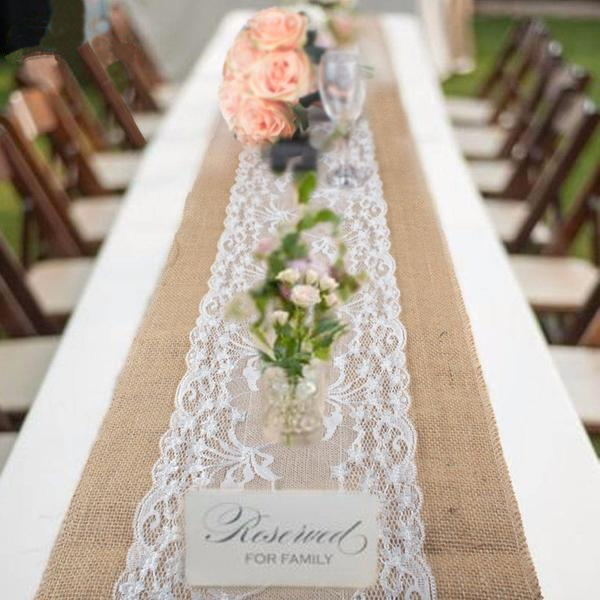 Burlap Table Runner with Wide Lace Feature Reception Set up