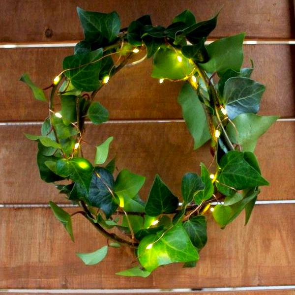 Copper Fairy Lights in Artificial Wreath