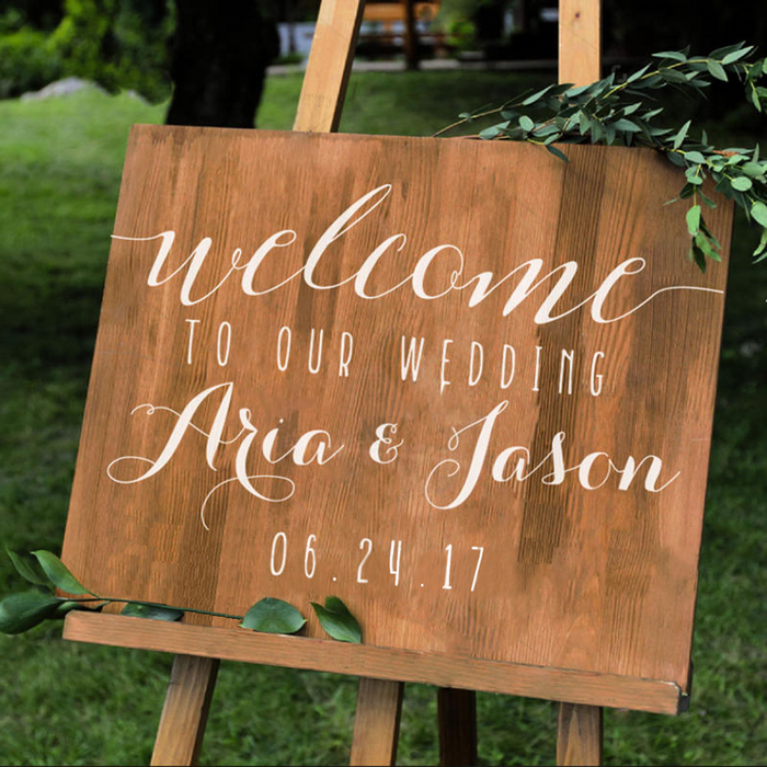 Personalised Rustic Wedding Welcome Sign STICKER DECAL