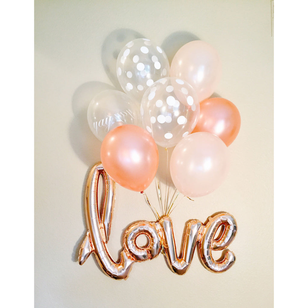 Heart and LOVE Foil Balloons