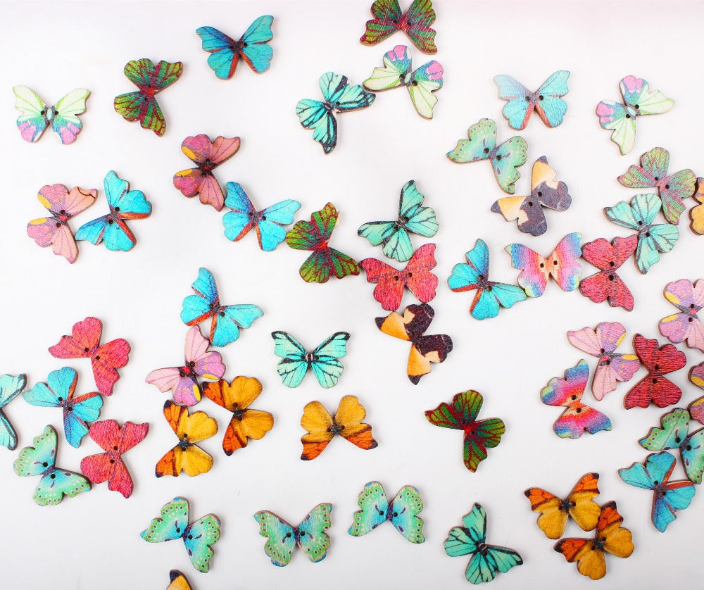 Wooden Butterfly Buttons, mixed designs, 50 pack