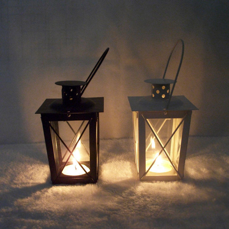 Classic Box Lantern with Handle with Electronic Candle