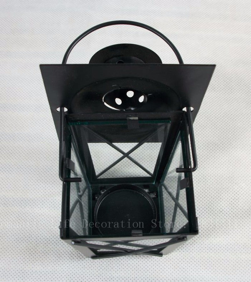 Classic Box Lantern with Handle - Black