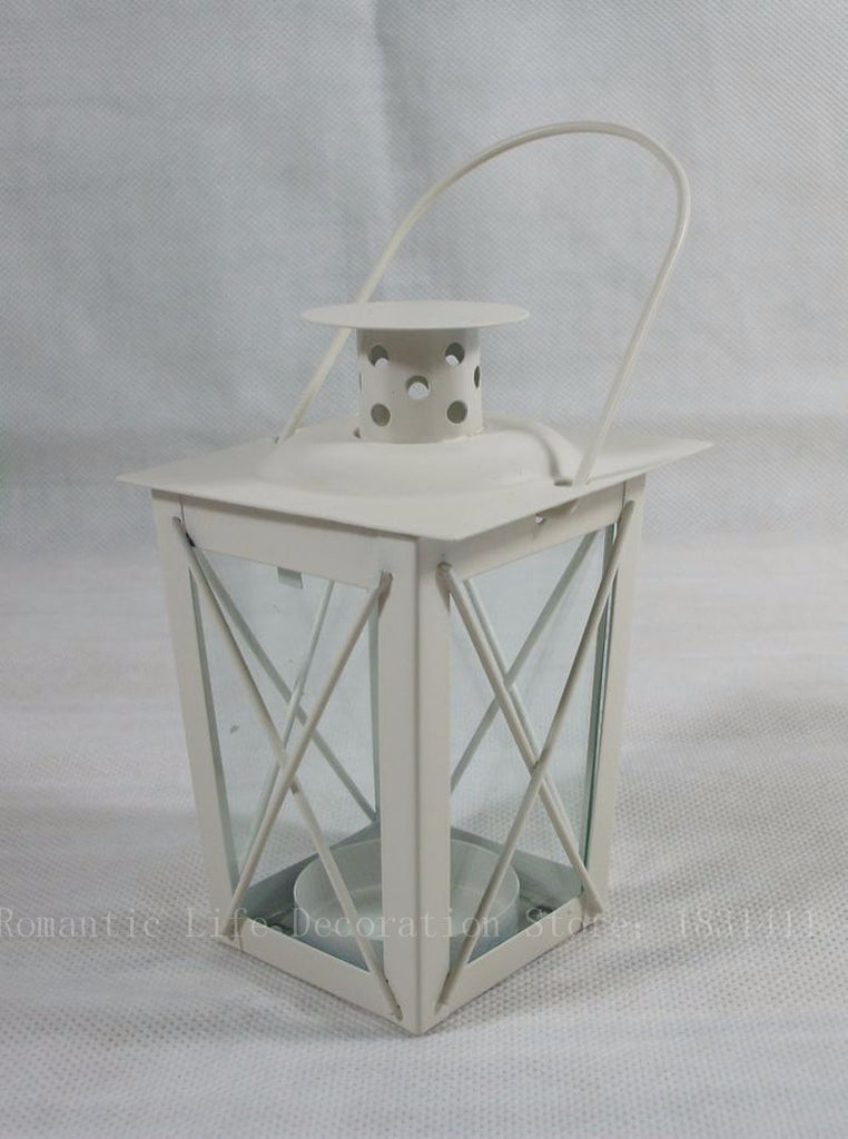 Classic Box Lantern with Handle - White