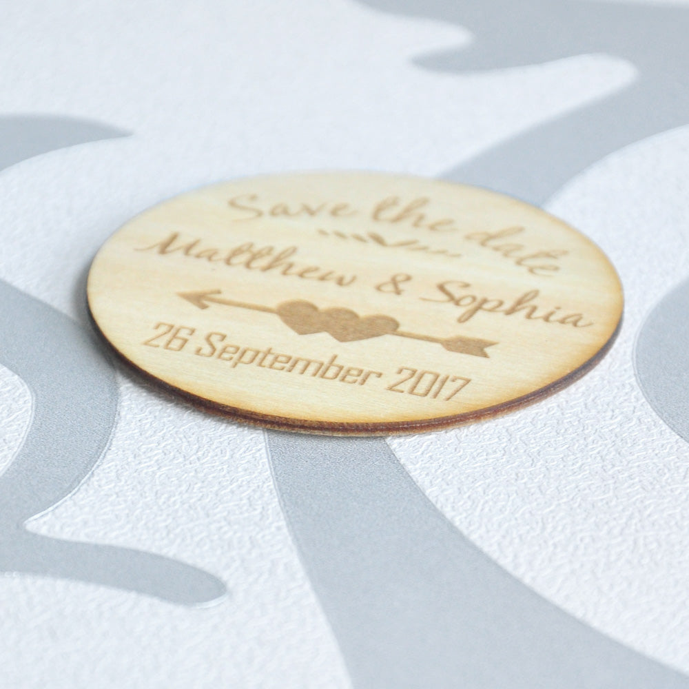Personalised Wooden Save the Date Magnets, Rustic Circle