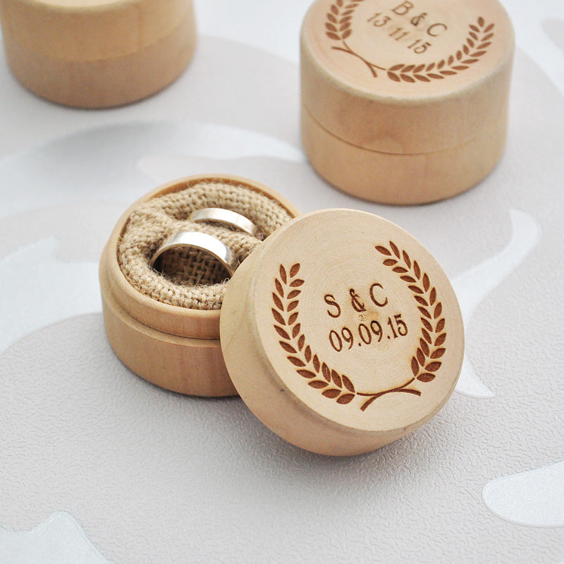 Personalised Wooden Ring Box with Wreath in Natural Wood