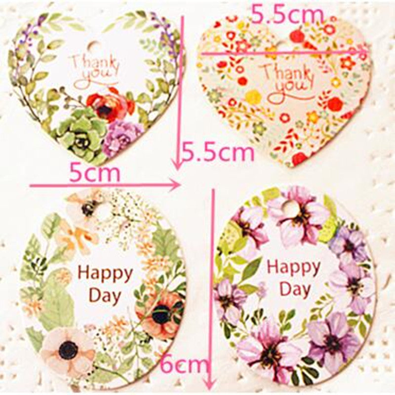 Sweet Heart and Oval Floral Thank You Tags x 50 pieces