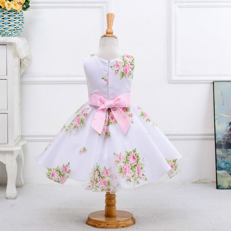 Sleeveless Floral Flower Girl Dress with Sash and Bow
