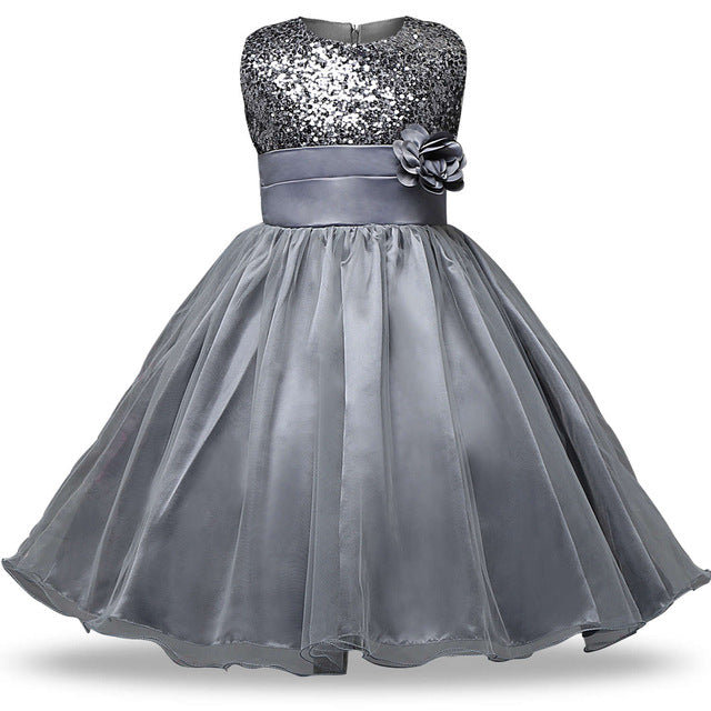Sequins and Organza skirt Flower Girl Dress
