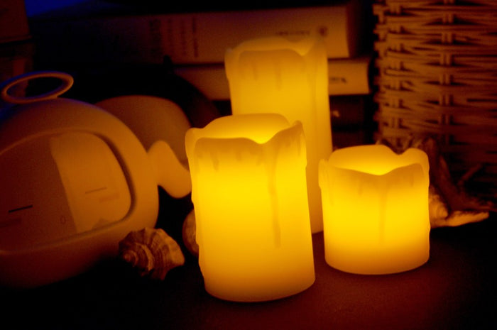 Flameless Electronic LED Pillar Candles, 3 pieces