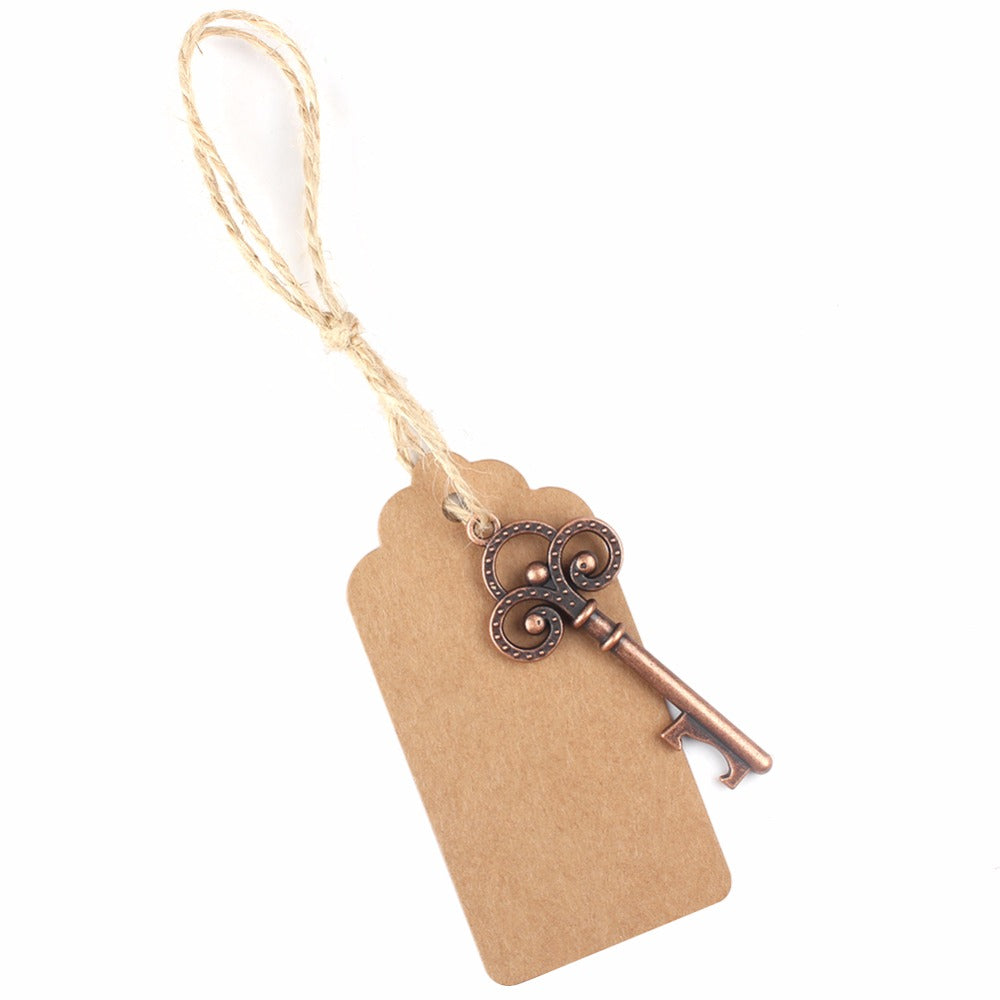 Vintage Key Bottle Opener with Tags - Wedding Favours x 50 pieces