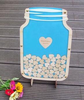 Personalised Drop Box Mason Jar Guest Book with Hearts, 40+ colours