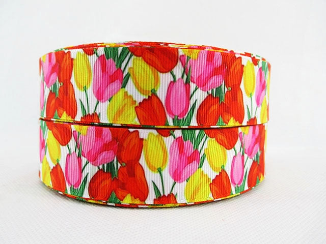 Vintage Floral Designs 25mm Grosgrain Ribbon
