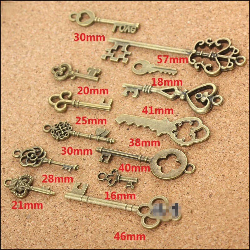 Vintage Old World Bronze Keys, 13 pack
