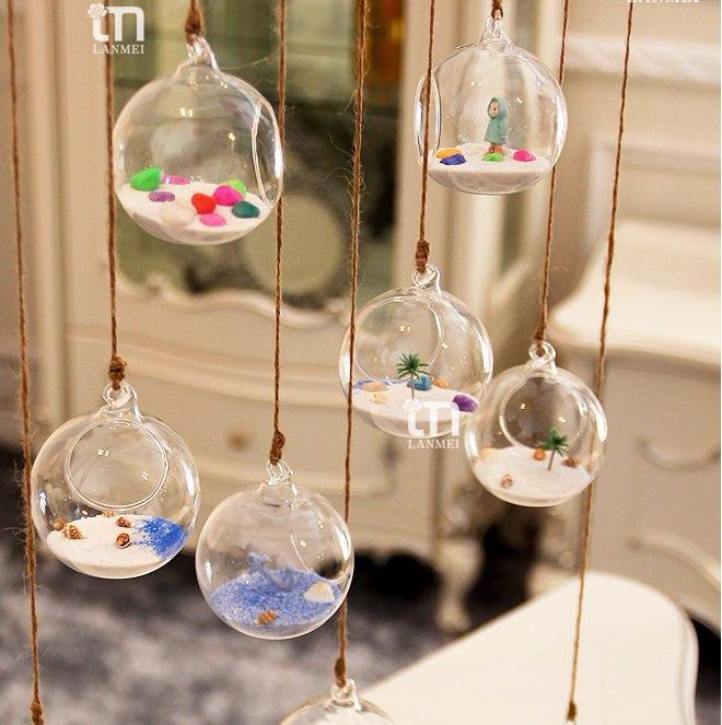 Round Hanging Glass Ball Terrarium Vase, 3 sizes
