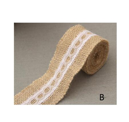 Burlap and Fine Lace Ribbon - Design B