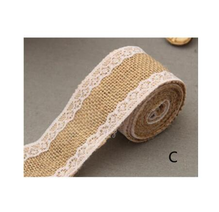 Burlap and Fine Lace Ribbon - Design C