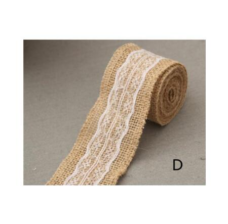 Burlap and Fine Lace Ribbon - Design D