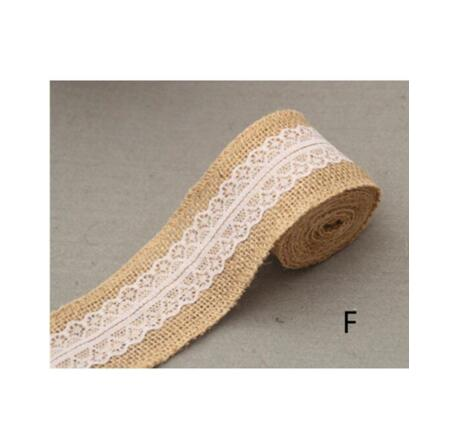 Burlap and Fine Lace Ribbon - Design F