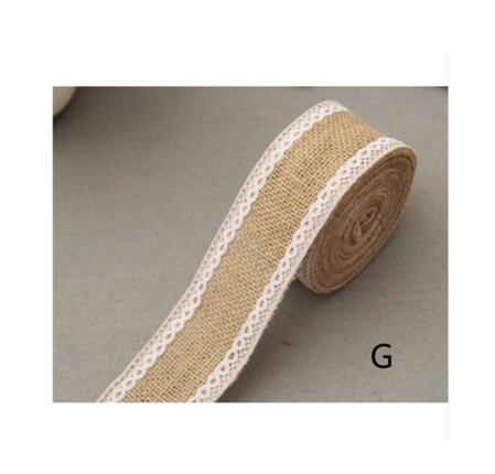 Burlap and Fine Lace Ribbon - Design G