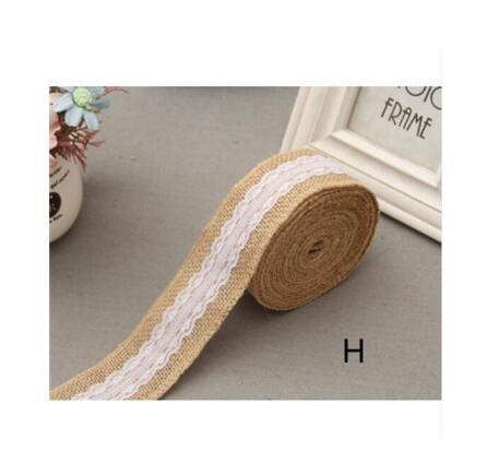 Burlap and Fine Lace Ribbon - Design H