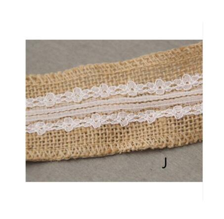 Burlap and Fine Lace Ribbon - Design J