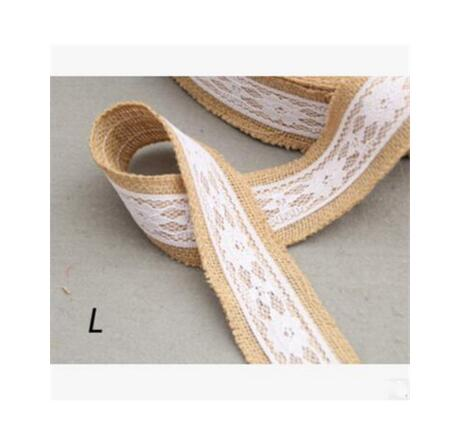 Burlap and Fine Lace Ribbon - Design L