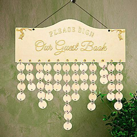 Wooden Guest Book Display with Discs and Links