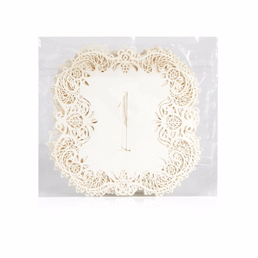 Ivory or Teal Pearlescent Card Lace Table Numbers 1-10, 11-20