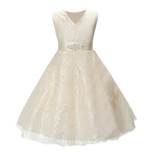 Sleeveless Lace Flower Girl Dress with Sash, 8 colours