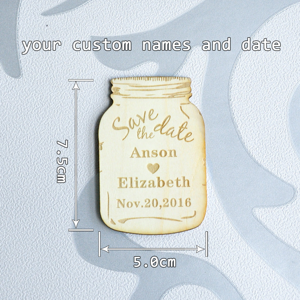 Personalised Wooden Save the Date Magnets, Rustic Mason Jar